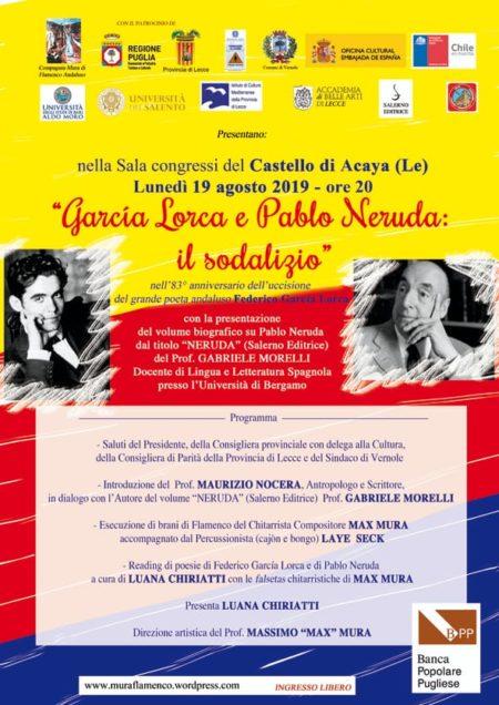 """""""Garcia Lorca e Pablo Neruda: il sodalizio"""" al Castello di Acaya il 19 agosto"""