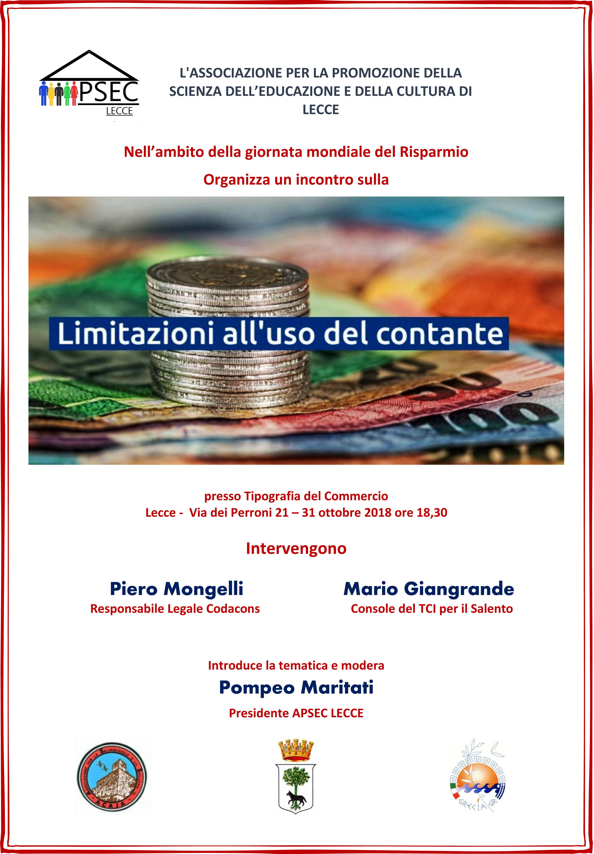 Giornata Mondiale del Risparmio: la limitazione della circolazione del contante