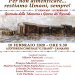 10 Febbraio a Casarano per il Giorno della Memoria