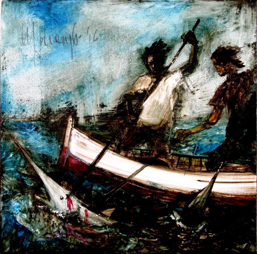 """Dipinto di Massimo Marangio dedicato a Domenico Modugno """"Lu pisci spada"""""""