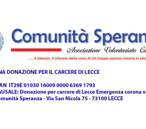 Una donazione per il Carcere di Lecce