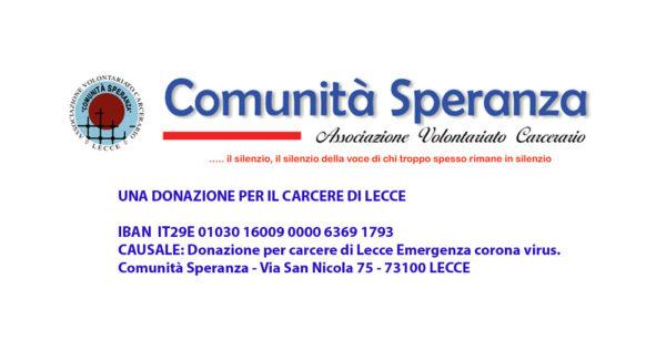 Invito a donare per il Carcere di Lecce