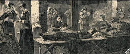 Incisione con tema Epidemia di colera 1836. Interno di lazzaretto con donne pazienti malate di e assistenti