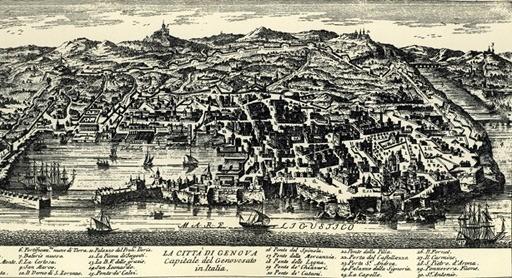 Incisione della città di Genova nel XVII secolo